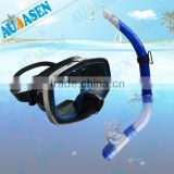 black&blue color silicone diving mask and snorkel set