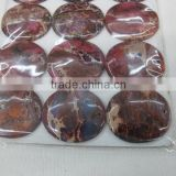 Red Imperial Jasper sediment jasper 35 mm round coin pendant natural stone component for jewelry making