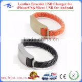 Fashion Wearable leather knitting bracelet charger cable for iPhone6 Android Smartphones
