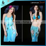Sky blue flower printed sarong wrap dress