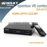 V8 combo satellite receiver no dish DVB-S2/T2 internet tv set top box with iptv cccam cline twin tuner cloud ibox 3
