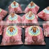 Rose Quartz Orgone Pyramid With Flower Of Life Symbol : Wholesale Orgone Pyramid | Bulk Order Orgone Pyramid