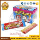 Double Fruit Acid Sugar Coated Filled Soft Stick Candy