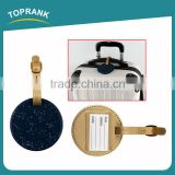 Toprank OEM Wholesale Custom Gift Round Shaped Suitcase Name Tag Embossed Travel Leather Pu Luggage Tag