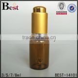 3 / 5 / 7 / 8 ml hot products small essential oil amber glass dropper bottle matte gold press dropper tube glass bottle