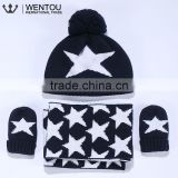 Wholesale Cotton Knitted Scarf Hat Gloves Baby Winter Warm Set