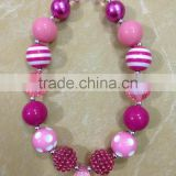 2014 new july 4th chunky bubblegum frozen necklace resin stripe beads kids necklace 2014 wholesale baby beads necklace