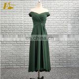China Supplier Off Shoulder Pleated Green High Low Chiffon Weddings Bridesmaid Dresses