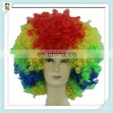 Sports Fan Crazy Party Cheap Rainbow Colors Curly Afro Wigs HPC-0089