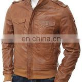 Men's Leather Bomber Jacket in Brown/ Leather Winter Jacket