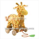 Quality Tug along toy giraffe plush for child