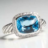 Sterling Silver Jewelry 8x10mm Blue Topaz Noblesse Ring(R-043)
