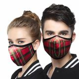 Reusable Washable Silvadure Printed Red Tartan Antibacterial Knitted Fashion Sports Mask