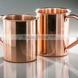 100% Authentic Straight Smooth Copper Beer Mugs with Riveted Handle, Copper Drinking Mugs with Rivet Handle