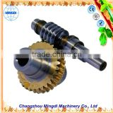 Meat Grinder Gears / Pinion Brass Precision Worm Gears Set Alloy Wheel Screw Shaft For gear hobbing machine