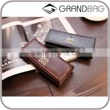 Large Capacity Genuine Leather Vintage Style Snap Button Brand Long Clutch Wallet Bag for Women and Girls
