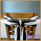 C327A wholesale cheap black and white stripe banquet chair sash