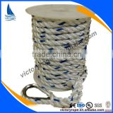 factory price polyester twisted anchor rope line with metal thimble