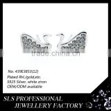 Fashion 925 silver diamond earring jewelry setting cubic CZ AAA Swan design earring with Butterfly push back stud earring