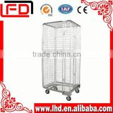 wire mesh and foldable metal wire roll cage trolley for Logistics