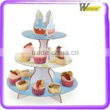 Innovative Design Light Blue CMYK Printing For Party Corrugated Paper Kraft Paper Cardboard Cupcake Display Stand
