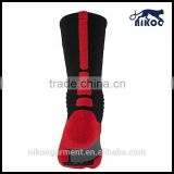 Professional quality men's red nylon designer stripes knee high customized wholesale long football socks