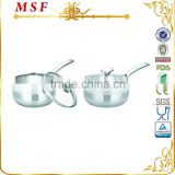 straight shape stainless steel milk pot with easy clean mirror polished and induction bottom