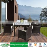 6 person Outdoor brown elegant rattan furniture all weather high quality square dining table set