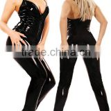 corset dress long leather rubber leotard/latex sleeveless sexy girls catsuit crotch 2 way zipper costumes women picture