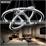 Meerosee LED Crystal Chandelier Light Diamond Ring Pendant LED Light 3 Circles LED Lighting                                                                         Quality Choice
