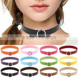 Hot Sexy Women Bijouterie Collar Punk Round Chain Goth Choker Harajuku Vintage PU Leather Neck Collar Maxi Necklaces Jewelry