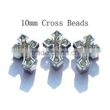 2015 DIY Rhinestone 10mm Cross Beads Slide Charms For Bracelet Faith Jewelry                                                                         Quality Choice