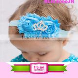 Stretch Elastic Ribbon Hair Rhinestone Flower Headband Baby Girl Bling Crystal Crowns Rhinestone Headband