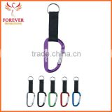 Wholesale 6mm Cheap Metal Carabiner Keychain With Strap And Split Ring Suplier