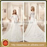 VDN37 Generous Half Sleeve Appliqued Beaded Bridal Wedding Dress Tulle Long Train Button Back Vestidos De Festa for Weddings