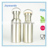 Eco-friendly Single Wall Stainless Steel Water Drinking Bottle with natural bamboo cover