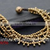 Water Drop Layer Brass Bracelet bangles Handmade woven wax cord bracelet thai style brass bell closure bracelet for mens