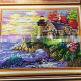 best price sea landscape house tree resin stone handmade art craft painting