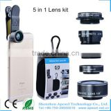 external camera lens for android phone 0.63x Wide Angle+15x Macro+198 fisheye+2x zoom+Filter 5 in 1 phone lens kit