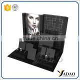 Fashion customized pu leather acrylic jewelry display for ring bracelet and earring jewelry exhibition display