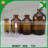 30ml transparent medical glass bottle with rubber stopper