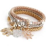 Wholesale cheap 3 color jewelry crystal animal pendant new gold bracelet designs