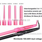 High Quality Automatic Mini Flat Iron 100 Ceramic Electric LCD Hair Brush Styler Roller Curler