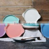 9'' Ceramic round bakeware with ear handle ceramic cake bakeware with handle breakfast ceramic tray