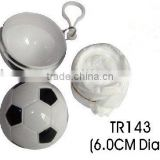Plastic football with raincoat inside
