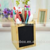 wooden pen container with blackboard