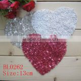 13CM wholesale colorful heart shape sequin applique for baby cloth