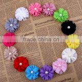 handmade chiffon flower with pearl beads center for kids hair accessories for baby girl