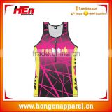 Hongen apparel Sublimation sleeveless Tri suit/Triathlon wetsuit Custom Lycra Tri Suit,triathlon top