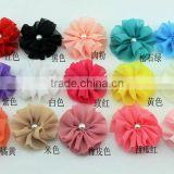 15 colors 5.5 cm fabric floral chiffon flower accessories, hair clip, shoes and garments accessories,DIY crafts flowers